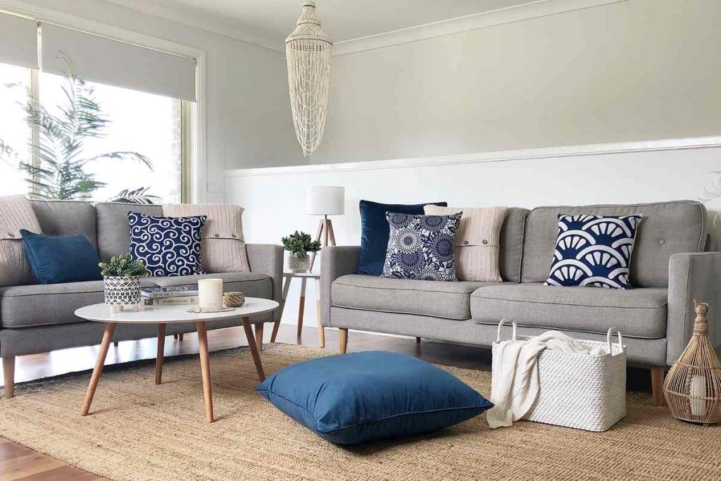 Corindi collection of cushions in deep blue and white