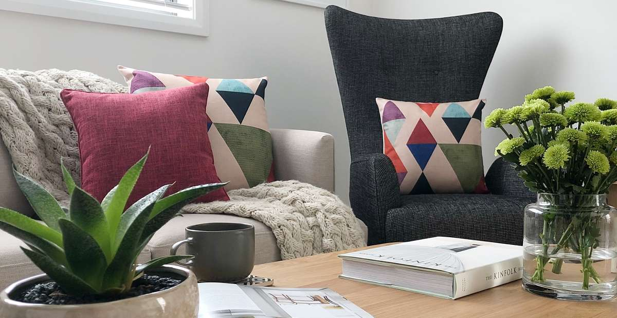 Mid century modern style with cushions that pop
