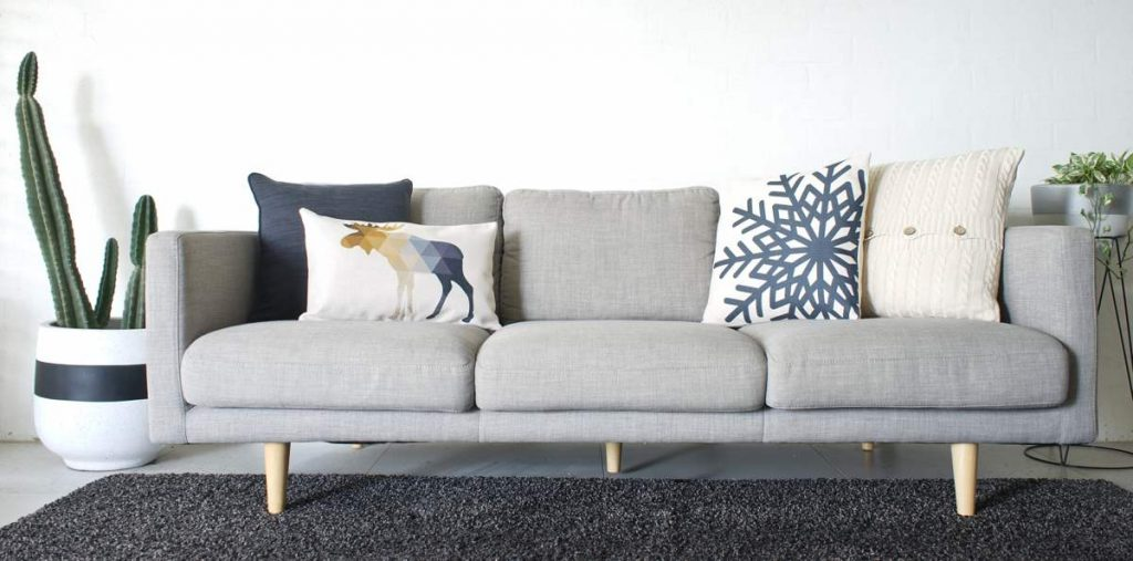 Scandinavian inspire cushions in blue and cream.