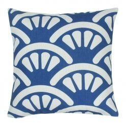 picture of blue and white shell design cotton linen cushion cover 45cmx45cm