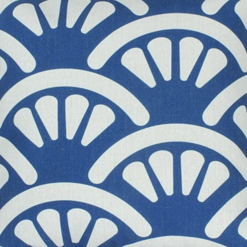Closer look of the cushion cover with white and blue shell design