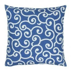 cotton linen blue and white cushion cover with swirly pattern in 45cmx45cm