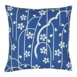blue and white cotton linen cushion with leaves design 45cmx45cm