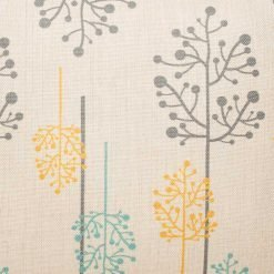 Close up of cotton linen cushion with yellow, blue and grey blossoms(45cmx45cm)