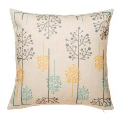 45cmx45cm Cotton linen Cushion Cover in grey, yellow and blue blossom design