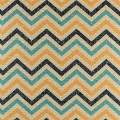 Close up of the Black, blue, and yellow 45cmx45cm cotton linen cushion cover with chevron pattern