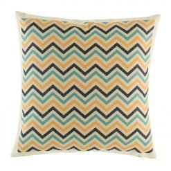 Chevron cotton linen cushion cover in Black, blue and yellow colours (45cmx45cm)
