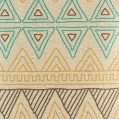 (45cmx45cm) Closer look at the multiple triangular pattern of cotton linen cushion cover in blue,yellow and brown