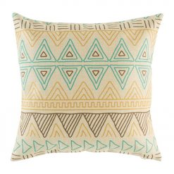 Blue, Yellow and Brown triangular design cotton linen cushion in size 45cmx45cm