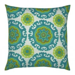 Blue, green and white Cotton line cushion cover (45cmx45cm)