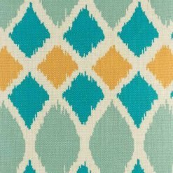 Close up of Blue and yellow multi patterned cotton linen cushion cover(45cmx45cm)