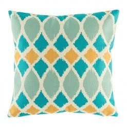 photo of the blue and yellow multi patterned 45cmx45cm cotton linen cushion