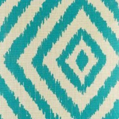 close up of teal cushion cover with diagonal design made from cotton linen in 45cmx45cm