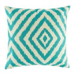 teal colour with diagonal pattern cotton linen cushion in size 45cmx45cm
