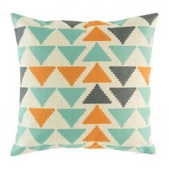 45cmx45cm orange, grey and light blue cushion cover made from cotton linen