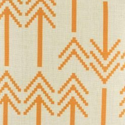 closer look of the cotton linen orange cushion cover with arrow design in size 45cmx45cm