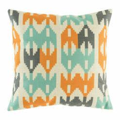 blue, dark grey ad orange cotton linen cushion cover in 45cmx45cm