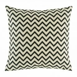 45cmx45cm cotton linen cushion in black and white with small Zig Zag pattern
