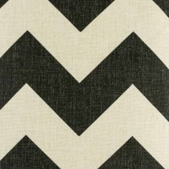 close up of black and white cotton linen cushion with large zigzag pattern in size 45cmx45cm