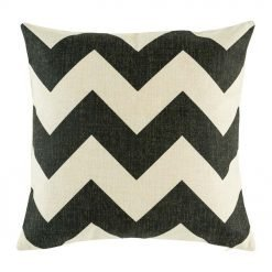 45cmx45cm cotton linen cushion cover with large zigzag pattern