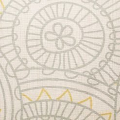 Closer look of the multi patterned Cotton linen cushion in grey and yellow. (45cmx45cm)