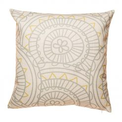 Grey and yellow cotton linen cushion with multiple patterns (45cmx45cm)