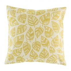 Picture of 45cmx45cm cotton linen cushion with golden yellow leaves design