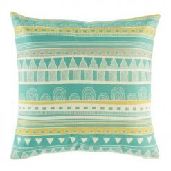 Picture of the multi patterned blue, yellow and white cushion cover made from cotton linen (45cmx45xm)