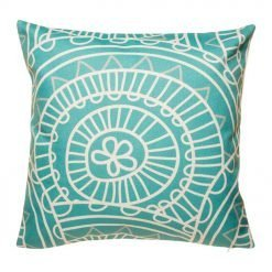 Teal cotton linen cushion with white patterns (45cmx45cm)