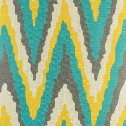 Closer look at 45cmx45cm the cotton linen cushion with blue, yellow, dark grey wide Zig Zag pattern