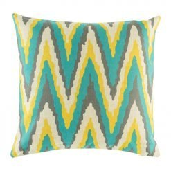 45cmx45cm Cotton linen cushion cover with yellow, blue and dark grey wide Zig Zag design