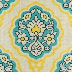 A close up of the 45cmx45cm cotton linen cushion cover in yellow, blue and white with flowers design