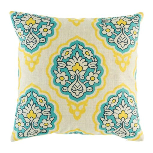 picture of the cotton linen 45cmx45cm cushion with yellow, blue and white flowers design