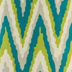Close up of the green and blue with large Zig Zag cushion cover made from cotton linen(4cmx45cm)