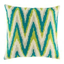 45cmx45cm cotton linen cushion in green and blue Zig Zag pattern