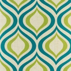 close up look of the green and blue wavy patterned cushion cover in 45cmx45cm cotton linen