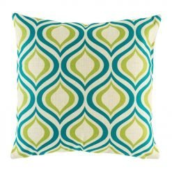 45cmx45cm green and blue wavy pattern cotton linen cushion