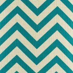 Close up photo of teal and white zigzag pattern cotton linen cushion (45cmx45cm)
