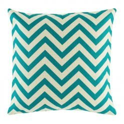 Photo of White and Teal with zigzag pattern cotton linen cushion cover in size 45cmx45cm