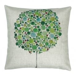 Cotton linen Cushion i Different shades of green bubbles. (45cmx45cm)