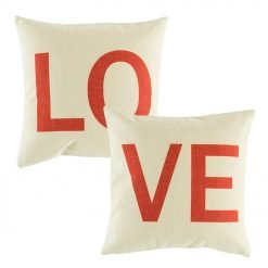 White cushion cover with red letters set. 45cmx45cm