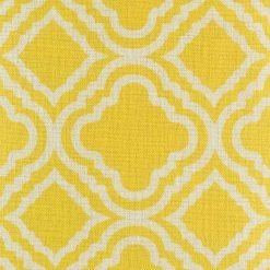 close up of the yellow and white patterned cotton linen cushion