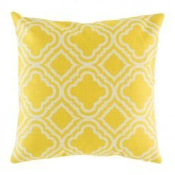 Yellow and white different patters 45cmx45cm cotton linen cushion