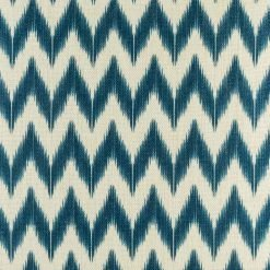 Close up of the 45cmx45cm chevron patterned cotton linen cushion in navy blue