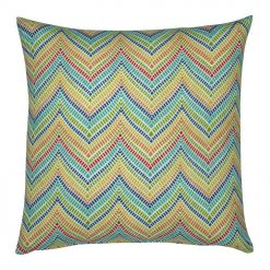 Outdoor cushion cover in colourful chevron pattern in 45cmx45cm