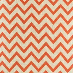 Close up of the small red chevron cushion made from cotton linen (45cmx45cm)