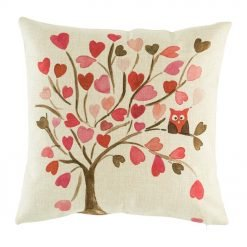 pink hearts and owl in tree cotton linen cushion cover in 45cmx45cm