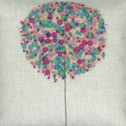 (45cmx45cm) bubbles in different shades of purple cotton linen cushion (CLOSE UP)