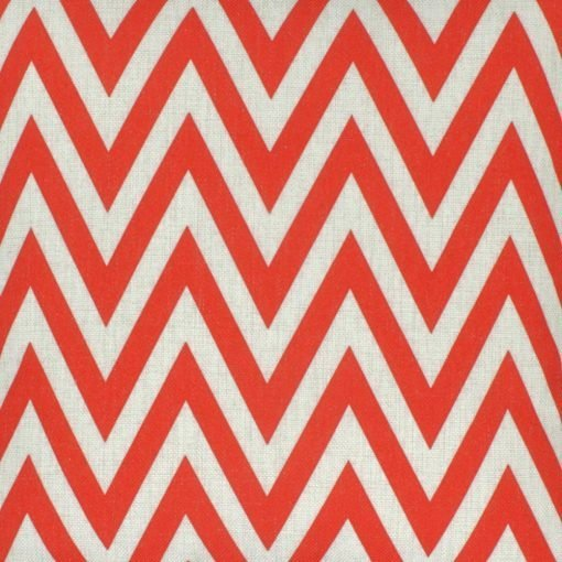 closer look of the red cotoon linen cushion cover with chevron design