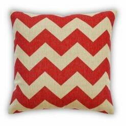 45cmx45cm Cotton linen Cushion in Large Red Chevron pattern